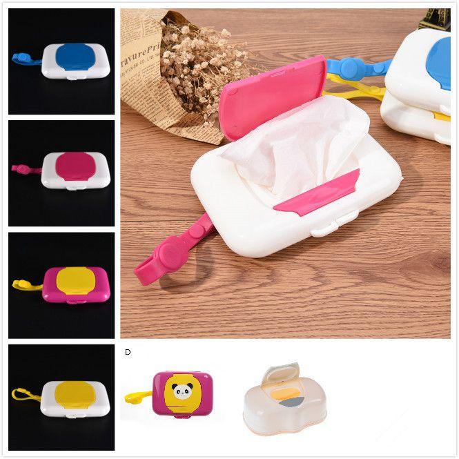 Plastic Baby Travel Wipe Case Child Wet Wipes Box Scatola Modifica del distributore del distributore Deposito del tessuto