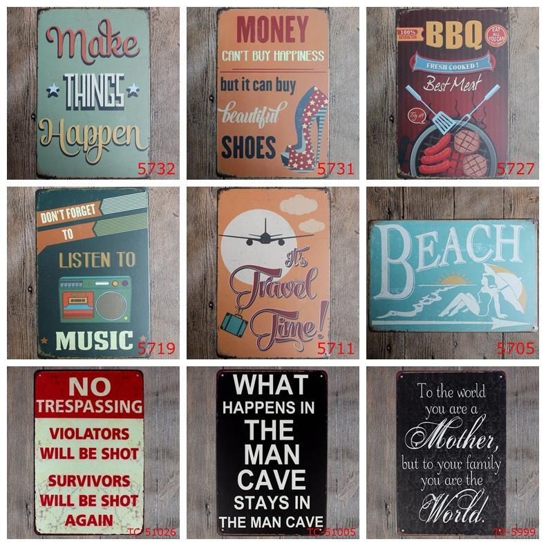 Retro Metal Tin Sign Kitchen Bathroom Family Romantic Poetry Metal Painting Bar Pub Cafe Home Restaurant Decor Vintage Tin Signs DH2592 DBC