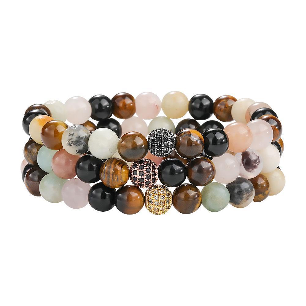 ojo de tigre cuentas de piedras naturales 8mm pulsera hecha a mano para hombres de las mujeres de cobre elástica con incrustaciones de micro perlas de circón regalo de la joyería pulsera