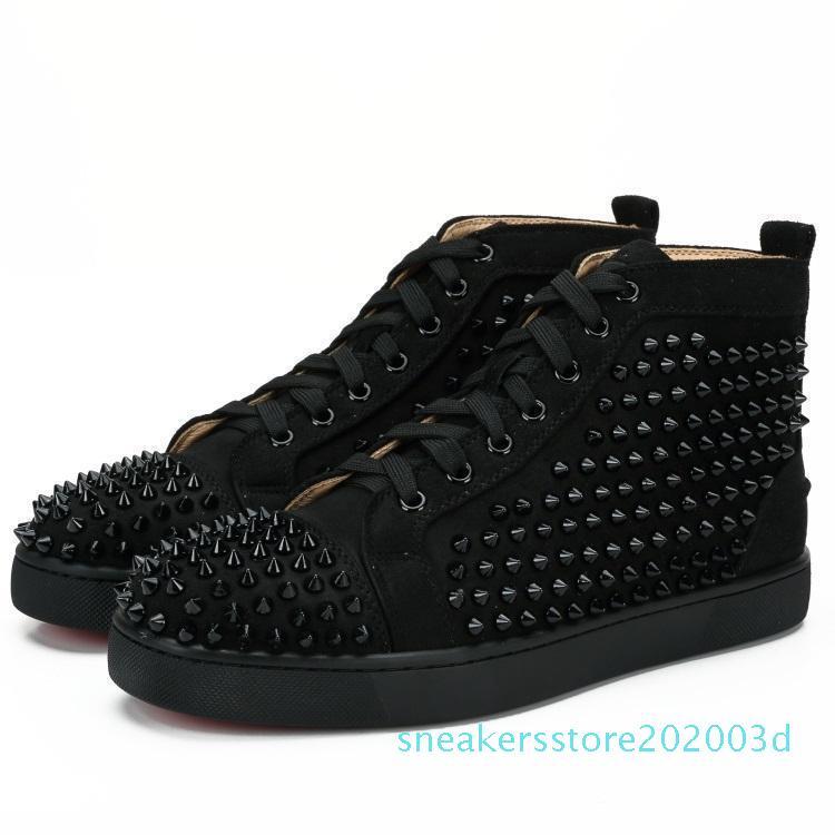 Zapatos de lujo de cuero con tachuelas tNew Spikes Moda Red Suede para hombre de la zapatilla de deporte para mujer plana Bottoms Zapatos amantes de la fiesta Tamaño 36-48 con 03s Box