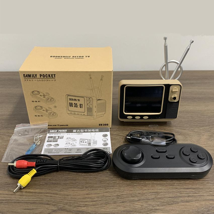 Mini TV Design Game Console GV300 Retro Bookshelf Protable Games Box With 2.4G Wireless Controller Handheld Game Player for Family Kids Gift
