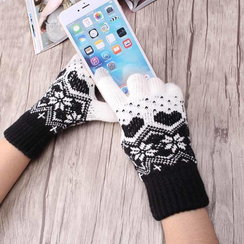 M MISM Dropshipping моды для женщин зимы теплые перчатки новизны сердца Снежинка Рукавицы Перчатки трикотажные перчатки на Рождество