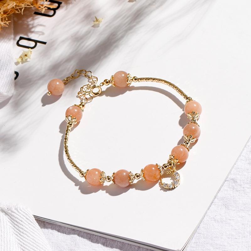 fWxWW cuivre plaqué bardo or véritable 2020 nouvelle pierre soleil orange perles lune zircon bracelet en cristal bracelet tube double ornement de perles à la main