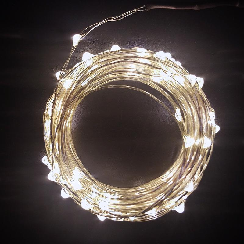 New LED de fio de cobre Luz Cordas DC 5V Power Supply 10 M 100 Luz Waterproof Cor da luz de Natal do fio de cobre de Cordas