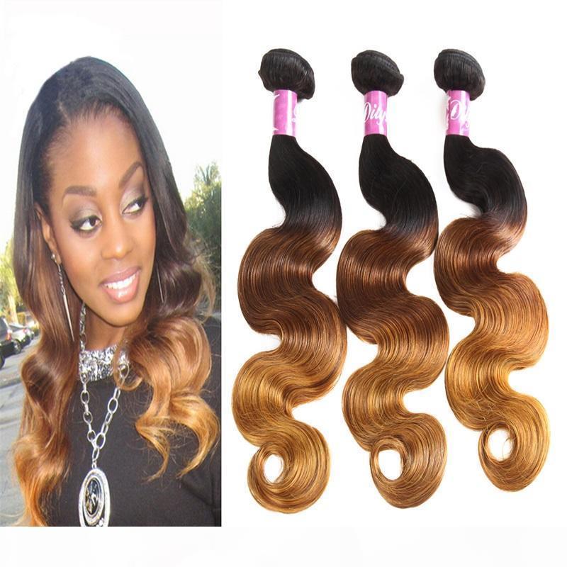 Ombre Trois couleurs Human Hair Bundles Body Wave Brésilien Péruvien Indien Malaisien 100% Virgin Humain Cheveux Tissu 8-28inch