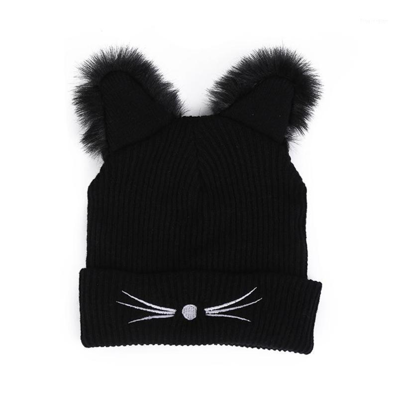 Caldo cappello invernale moda bella gatto cappello orecchio per le donne ins-hot hot harajuku cappelli a maglia skullies femmina beanies cofano faux visini1
