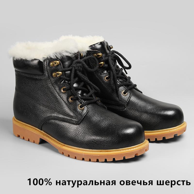 Натуральные шерстяные сапоги Winte размер 36 ~ 48 самые теплые натуральные кожаные туфли ручной работы мужчины зима T200305
