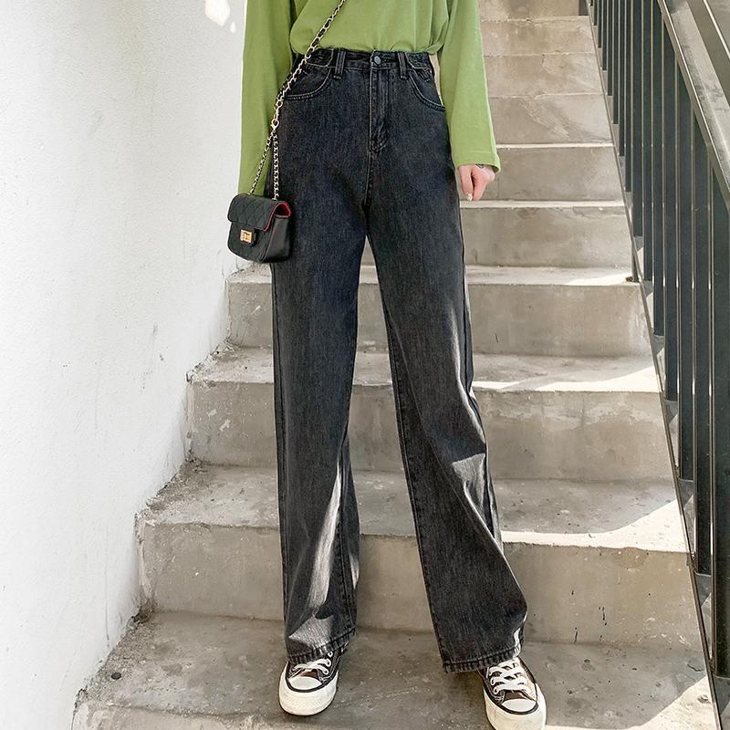Женские джинсы 2021 мода Harajuku прямые брюки широкая нога джинсовая одежда синяя уличная одежда винтажная качества корейский женщина высокая талия