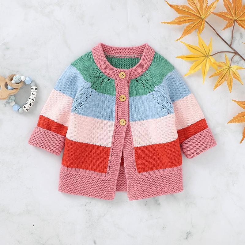 Inverno caldo Toddler Girl Sweater Abbigliamento Bambini Casual Maglione Bambina Rainbow Stampa a strisce in cotone in cotone Abbigliamento tuta sportiva