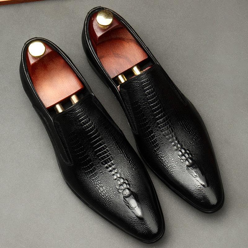 Noir Vine Rouge Hommes Chaussures en cuir Véritable Cuir Oxford Chaussures pour hommes Dress de luxe Slipon Wedding Brogues