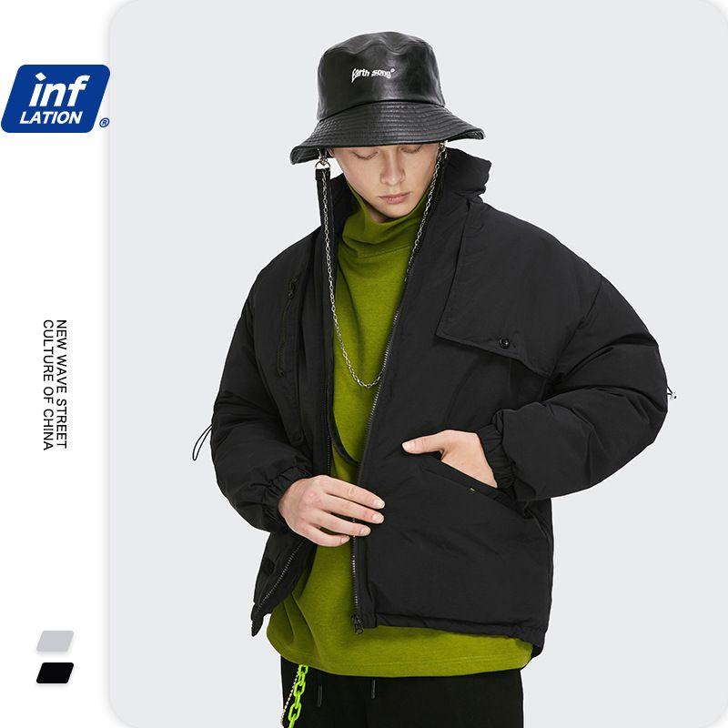 Inf men's wear new fashion brand pure color Cape Cape shawl splicing stand collar warm coat down jacket for men