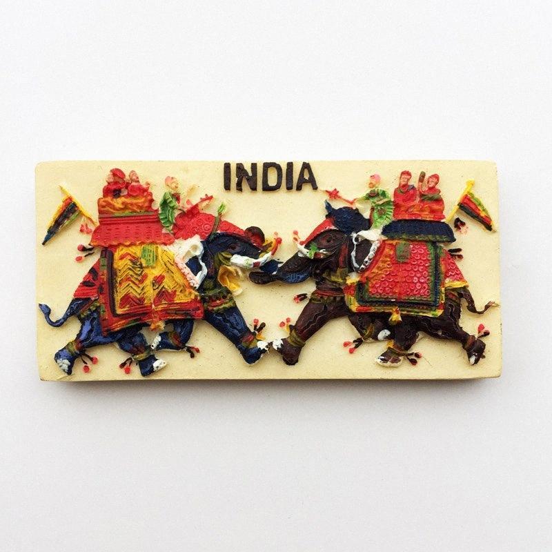 Pintado lichi la India tradicional elefante imán de frigorifico Mano refrigerador magnético engomada decoración del hogar Viajes recuerdos UPJ7 #