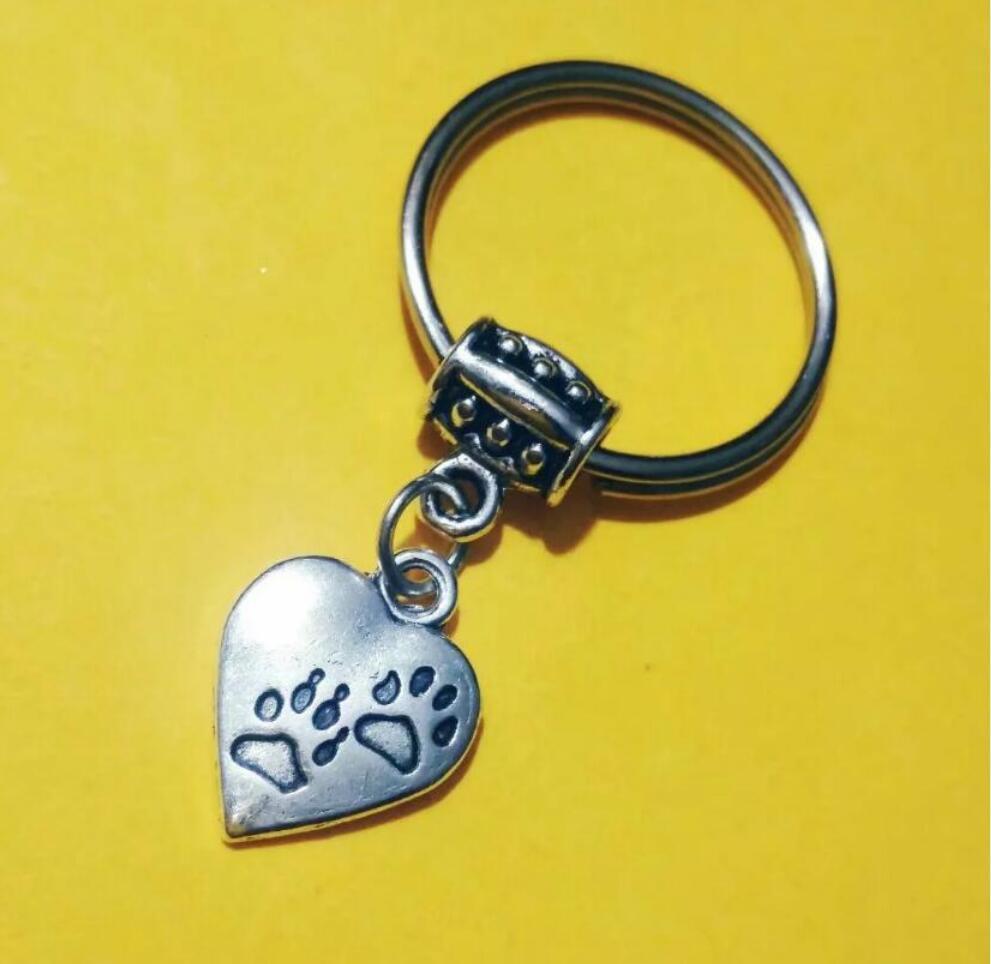 NEW HOT Fashion jewelry Heart Cat/Bear/dog paw print Keychain- charm pendant key chain ring DIY Fit Keychain - 190