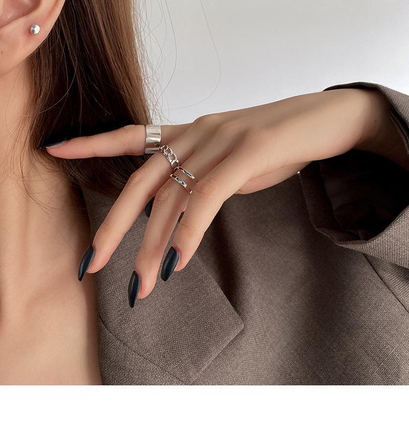 2021 Métal de luxe légère 3 Jeu de la Jeu personnalisée Mode personnalisée Fashion Niche Simple Blanc Gold Wind Stroit Gold Zircon Lady Bijoux