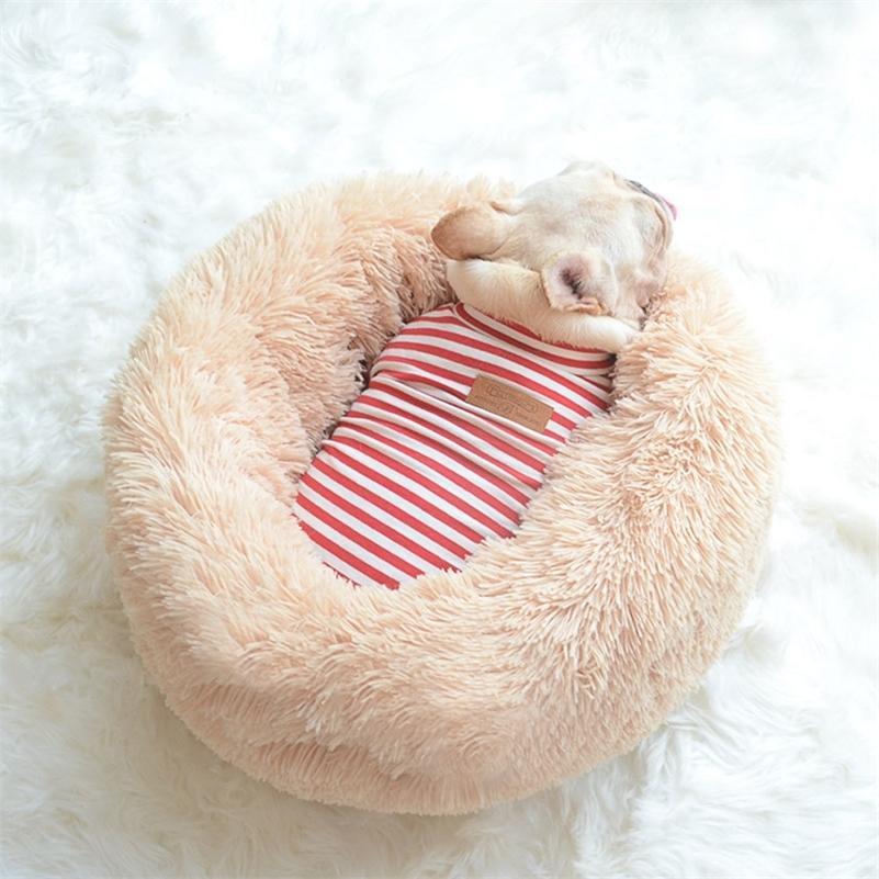 Rownfur لينة الكلب السرير قابل للغسل طويل أفخم الحيوانات الأليفة سرير جولة الكلب المنزلية المتوسطة المتوسطة الحيوانات الأليفة القط جولة بيت الكلب كيس النوم LJ200918