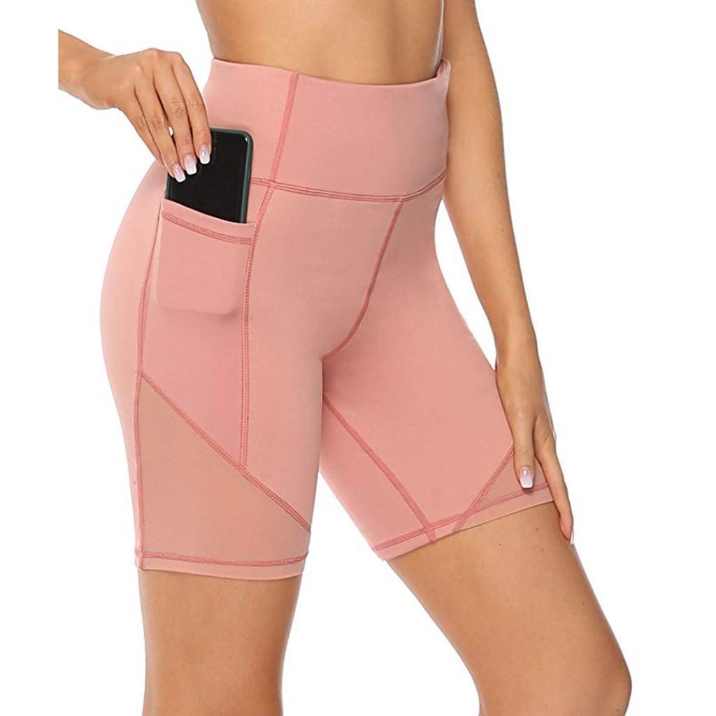 Colore Soild con Boy + Pocket Sports Sports High Waist Yoga Shorts Addome Control Training Pantaloni da corsa Push up