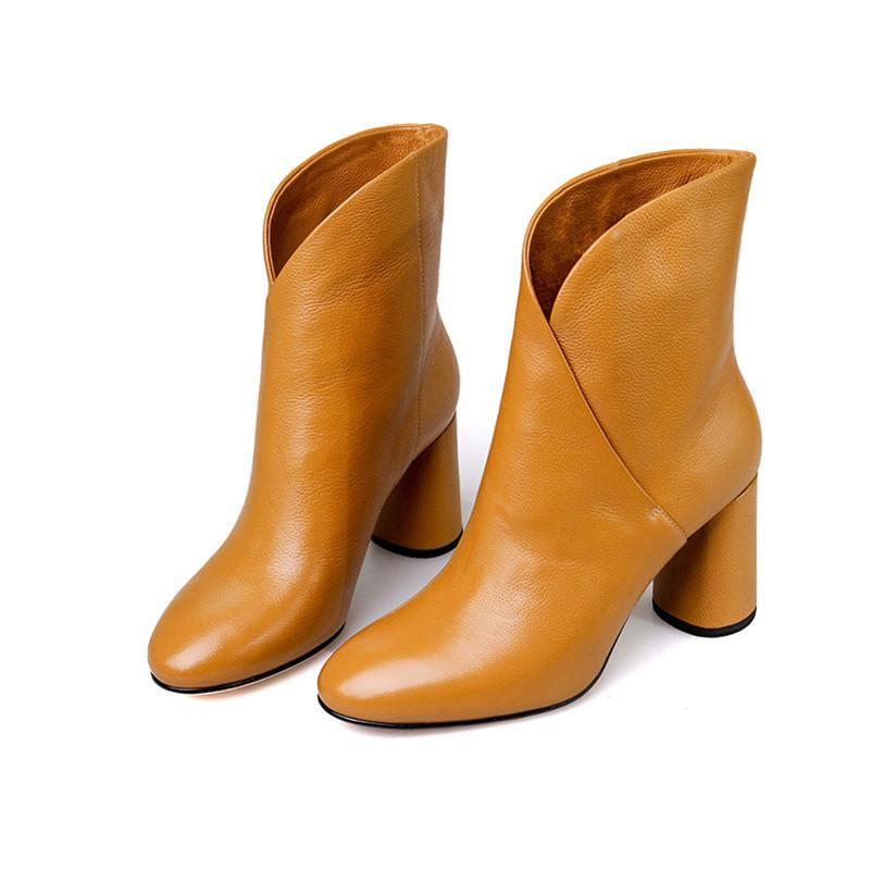 Hot Sale 2020 Women Ankle Elegant Warm Winter Genuine Leather Shoes Woman High Heeled Motorcycle Ladies Boots