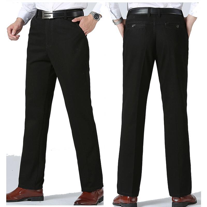 Erkeklerin gündelik pantolon spor düz uzun pamuklu chino pantolon büyük beden 2019 kış gri lacivert siyah pantolon baba ücretsiz gönderim