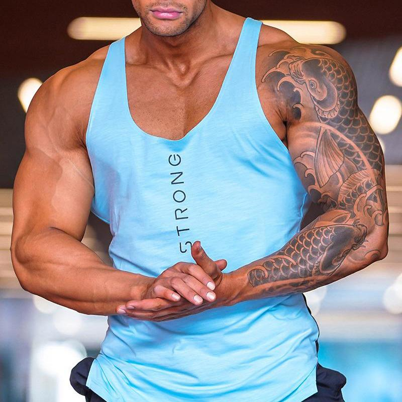 Sommer Cotton Tank Tops Männer Ärmel Tanktops für Junge Bodybuilding Fitness-Studio Kleidung Under Fitness Slim-Fit Sport Weste