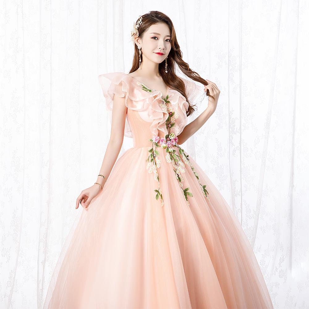 freeship light pink/light green flower embroidery fairy long dress gown opera stage medieval dress Renaissance cosplay Victoria Antoinette
