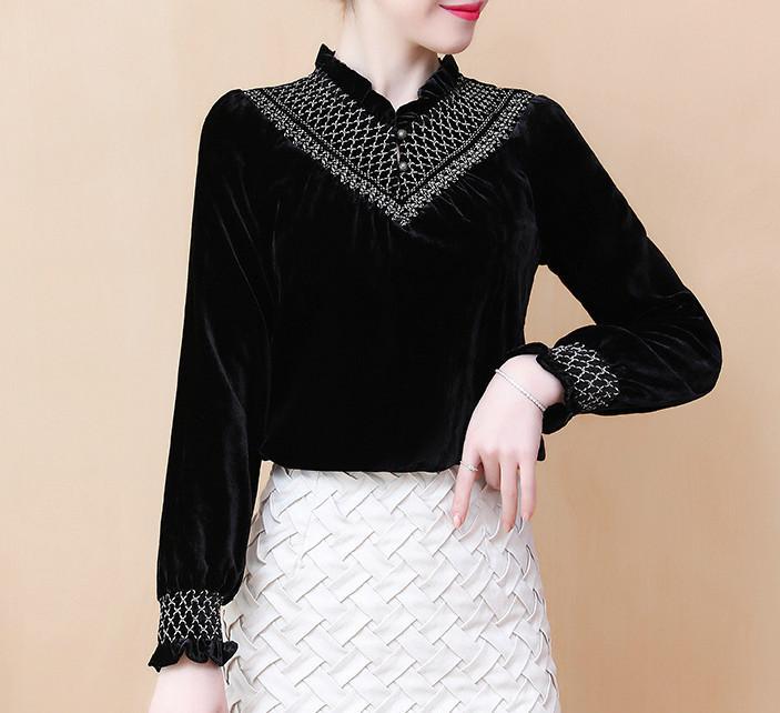 2020 Primavera Queda Moda Womens Ruffled V Neck bordado preto de veludo blusa, feminino mulher 3xl Tops veludo e Blusas