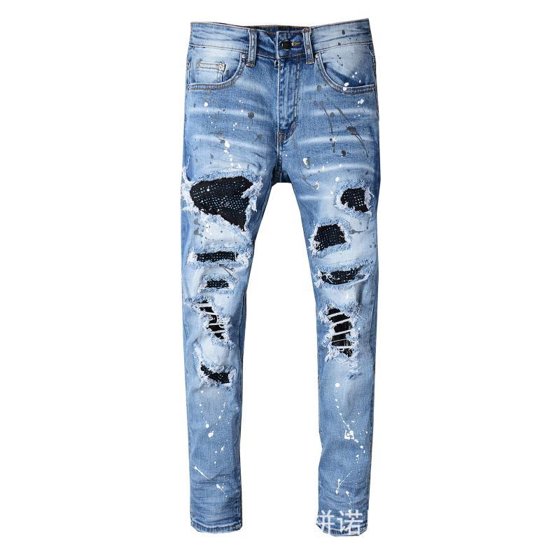 2020 Men Stretchy Ripped Skinny Biker Embroidery Print Jeans Destroyed Hole Taped Slim Fit Denim Scratched High Quality Jean