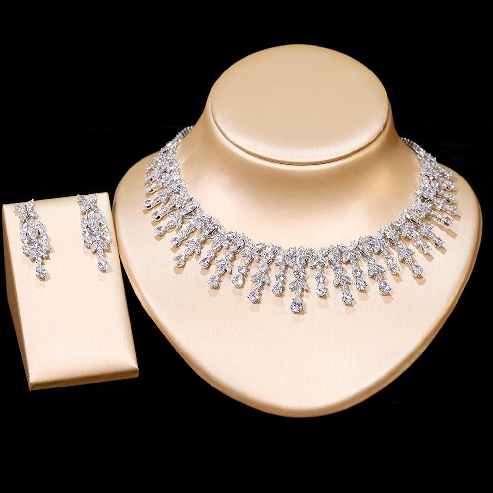 New Products Ladies Tassel Drop Shape Necklace Wedding Jewelry Bridal Engagement Jewelry Set Necklace earrings Wedding Accessories