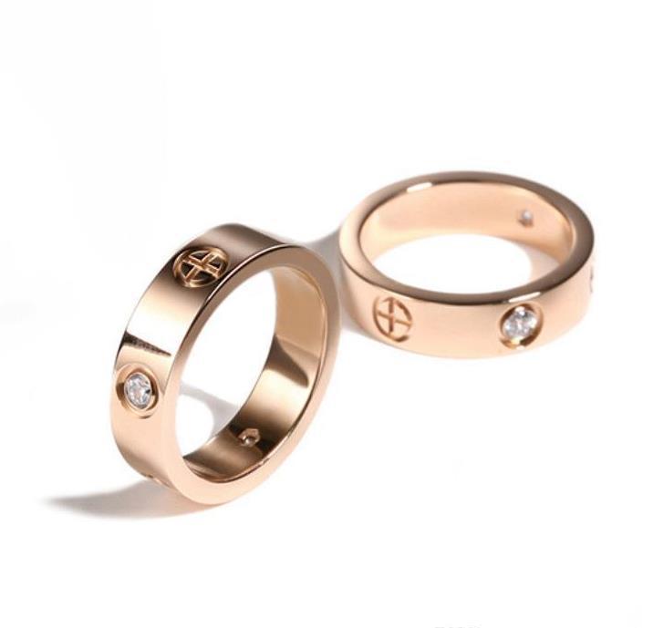 Titanium Steel Wedding amantes anel para mulheres luxo zircônia anéis de noivado homens presentes jóias de jóias acessórios de moda