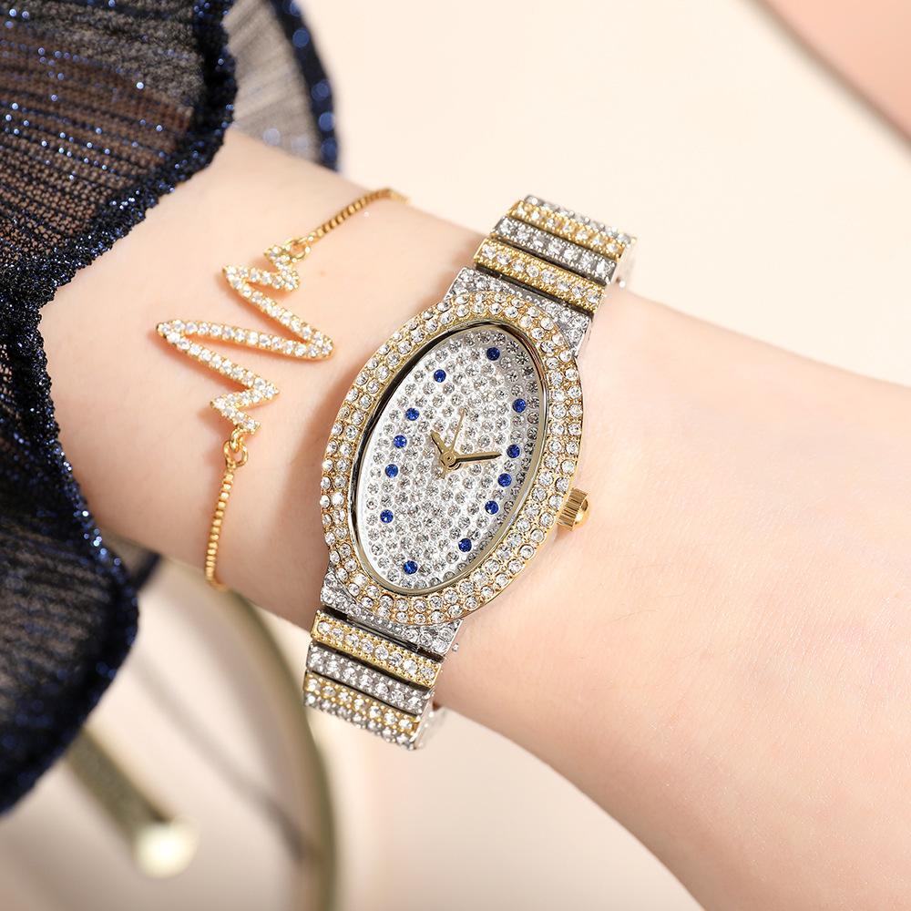 Nouveau design Quartz Dames Gold Montre Ovale Mouvement Original Vacual Placage 1atm Imperméable Dames Fashion Watch