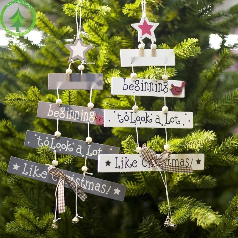 Dekoratif ürünler ahşap Noel ağacı mektup pruva dekorasyon asılı levha Dekoratif ürünler Pe boyalı butterflycreative butterflyBell
