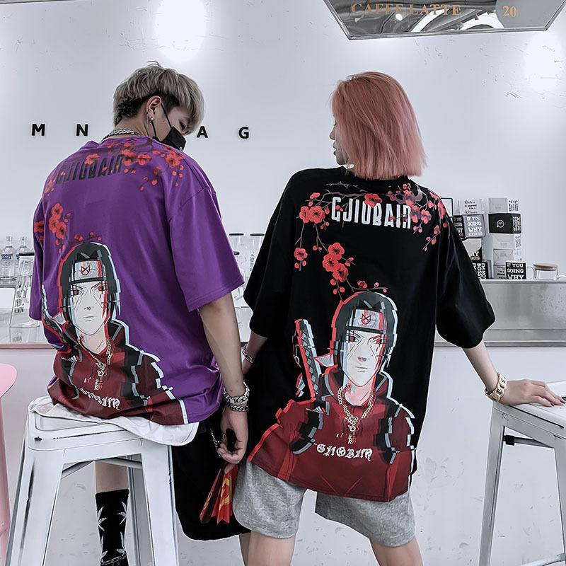 T-shirt à manches courtes pour hommes Naruto Anime Couple Casual Joker Fashion Youth Tee shirt Hip Hop Rue Robe Top 1021