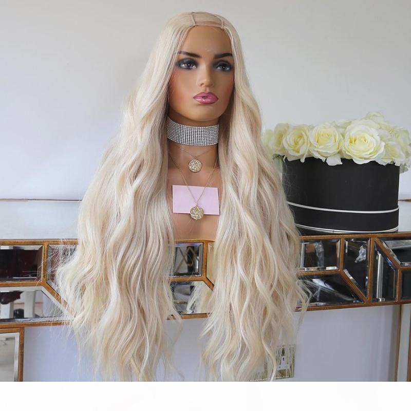 Mongolian 1x4 u Teil Menschenhaarperücken mit Clips Glueless 180Density Platium Blondine wellenförmig u Teilperücken für Frauen Remy Hair