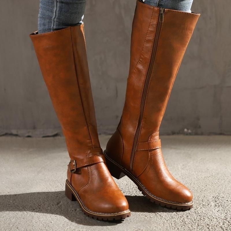 2020 PU Leather Mulheres Long botas de montaria Casual joelho Belt Buckle Zipper Outono Inverno alta solto Botas Botas Mujer Calçado