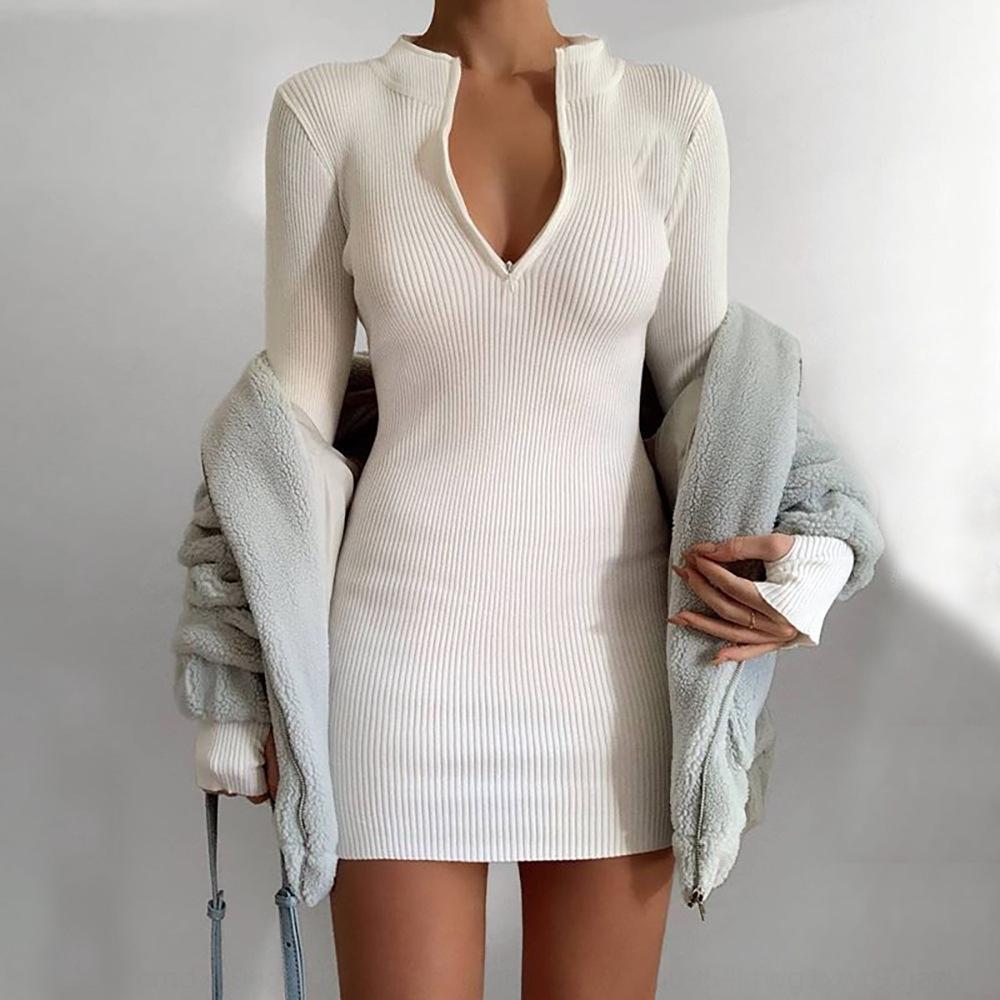 8 vhl herbst frauen maxi kleider sexy v boden langes kleid lange hülse necklänge split boho solid casual christmas vestido