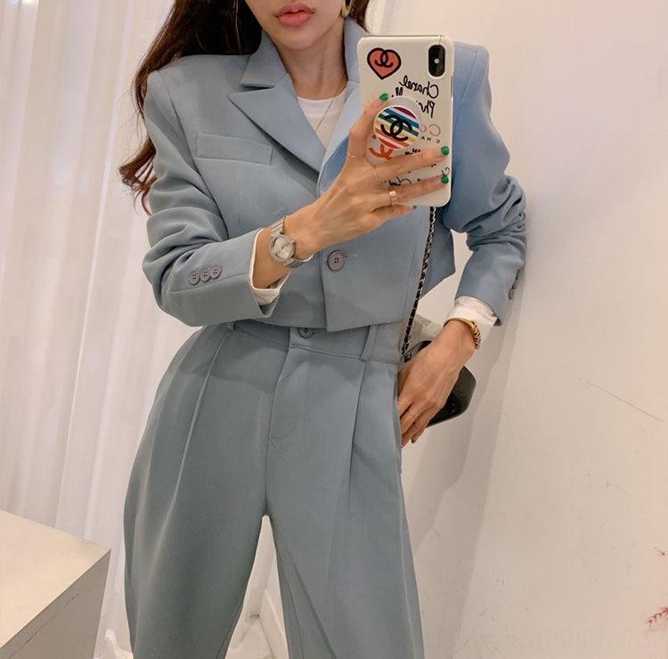 AOzgK Korean chic Herbst neuen britischen Stil kurze lange Ärmel kleine pantsJacket breite Bein Jacke Beinhosen der hohen Taille der breiten Anzughose Damen-f