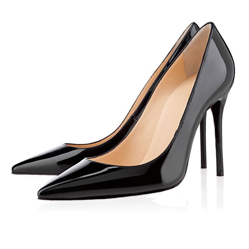 Лучшие красные днище высокие каблуки снизу мода высококачественные женщины повседневная обувь винтажная свадьба тройной черный люкс блеск шипов