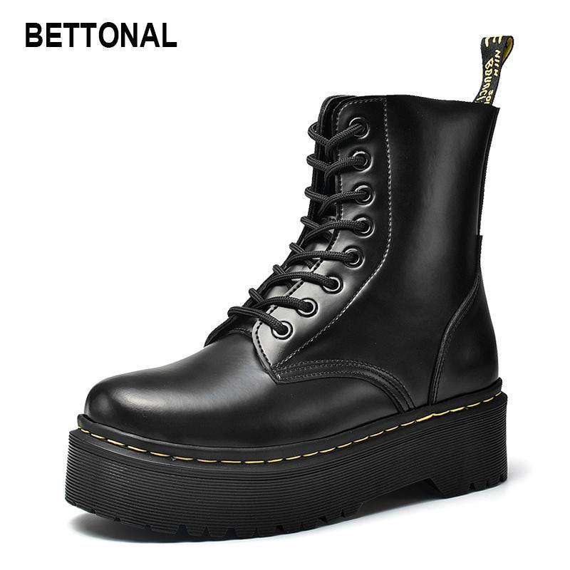 منصة عالية وحيدة 2020 الخريف المرأة الشتاء الكاحل النساء الأحذية الإناث أحذية قصيرة جلد طبيعي الجوارب خمر دراجة نارية