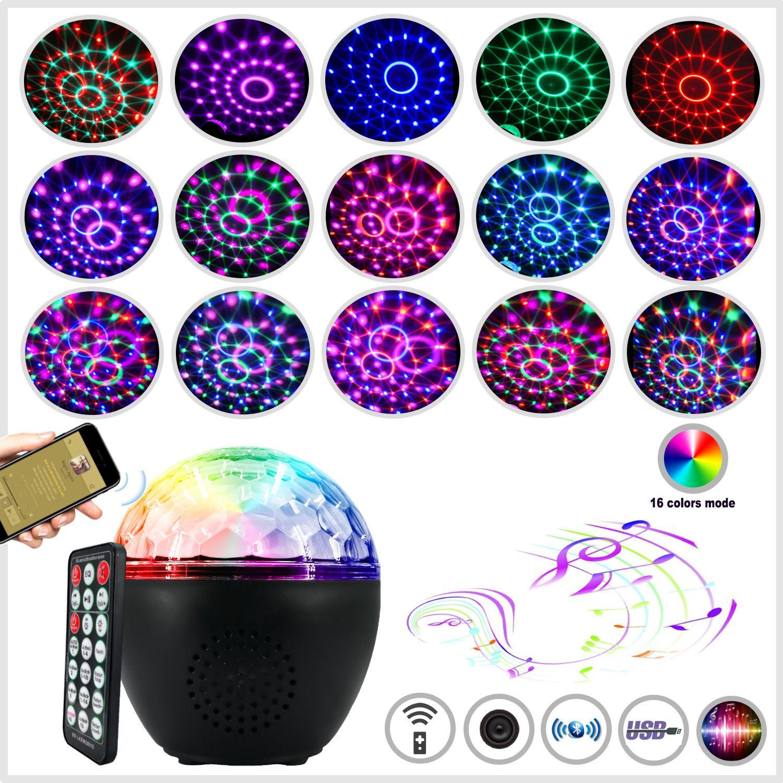 führte bunte Musikklangsteuernachtlampen USB-Bluetooth-Lautsprecher Kristall magische Kugel Licht Bühne Laserlicht Laserlicht