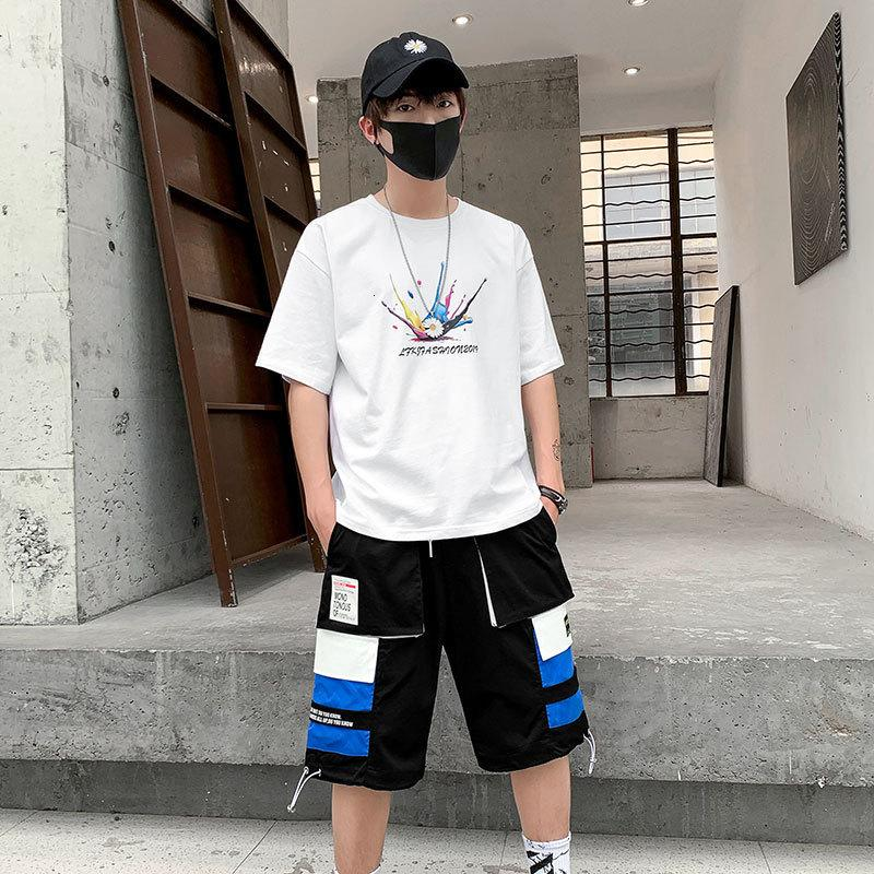 Men's suit trendy brand youth sports five-point shorts men's 2020 spring and summer new casual five-point short sleeve men's