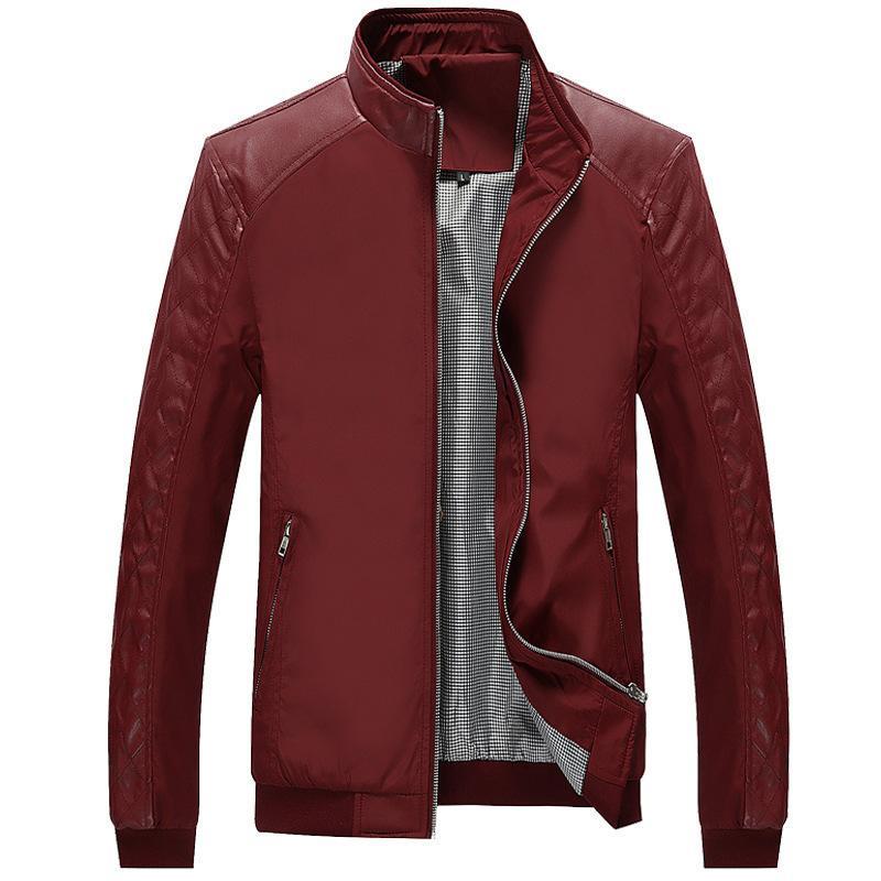 MRMT 2020 primavera nueva chaqueta de la juventud sección delgada de los hombres de la chaqueta de cuero de la PU cosiendo ropa informal color sólido