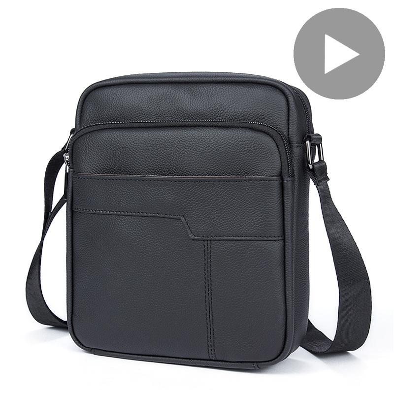 Shoulder Messenger Women Men Bag Crossbody Cow Genuine Leather Briefcase Office Business Work For Handbag Male Female Portafolio Q0112