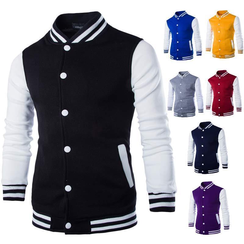 남자 재킷 남자 / 소년 야구 자켓 남자 패션 디자인 와인 레드 망 슬림 피트 대학 대표 브랜드 세련된 veste homme 3XL