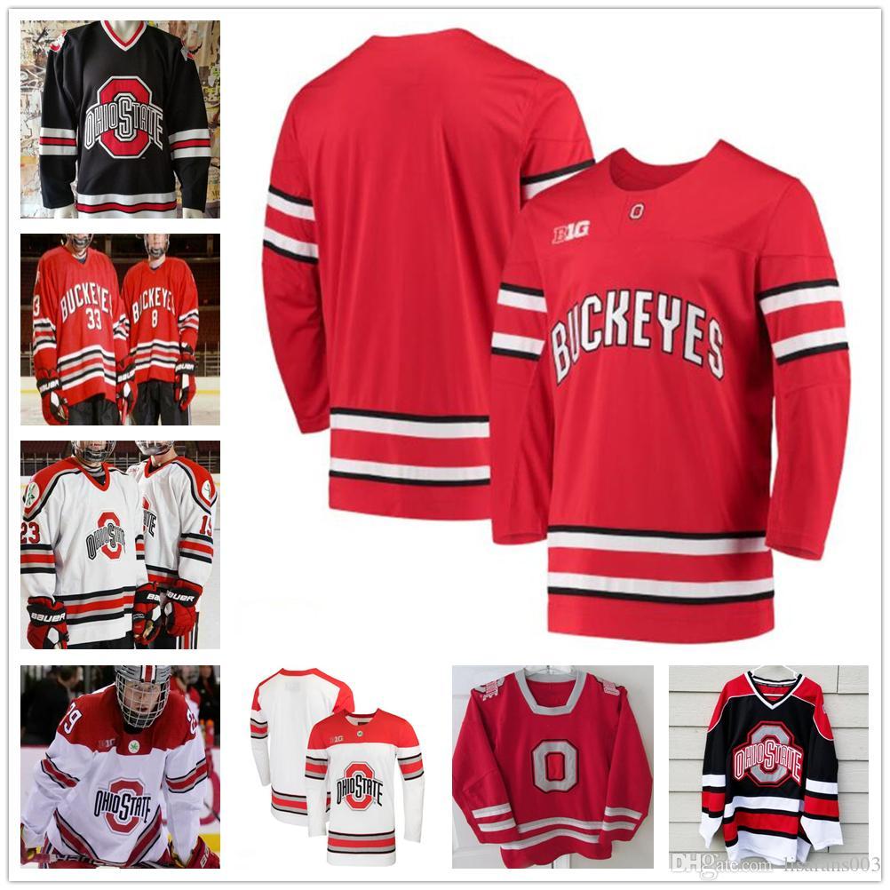 Пользовательские NCAA штата Огайо Buckeyes 30 Sean Romeo 12 Мигель Фидлер льда хоккея трикотажных изделий Персонализированные вышивка Колледж Big Ten прошитой трикотажных изделий