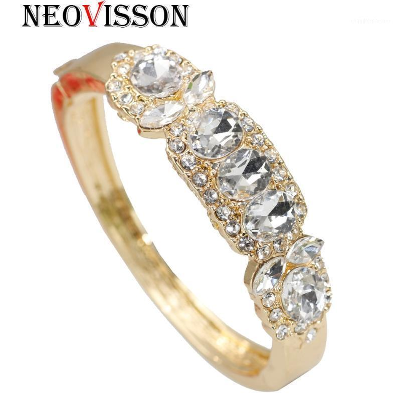 Neovisson color de oro marroquí brazalete de cristal para mujer joyería de boda brazaletes brazaletes regalo nupcial1
