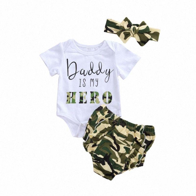 0-18M Daddy es mi letra de héroe Tops impresos para niños pequeños Baby Boy Boy Boys Girls Ropa recién nacida Camuflaje Imprimir Romper Shorts Headband 3pcs N6QH #