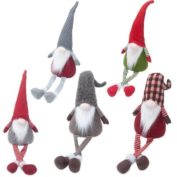 Christmas Stripe Faceless Standing Dolls Nordic Longleg Santa Claus Ornament Christmas Decoration No Face Doll Pendant GH1000