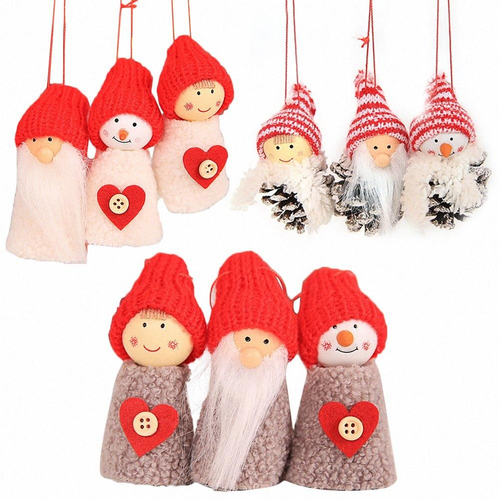 3pcs / set Weihnachtspuppe Hanging Weihnachtsmann-Anhänger Weihnachtsbaum Schneemann-Verzierung Weihnachtsfeiertags-Dekorationen Fireplac Für Privatanwender iQdf #
