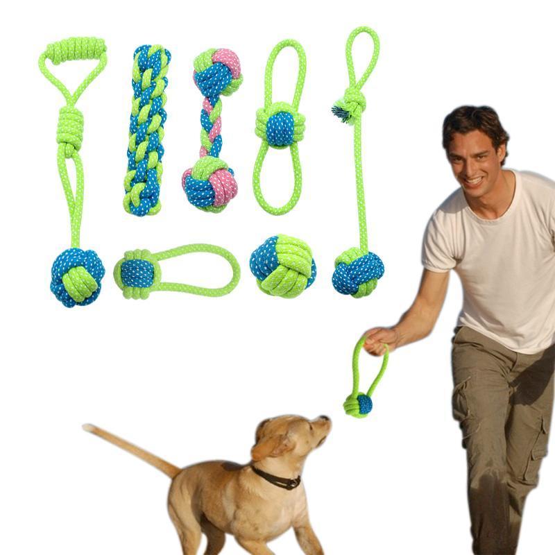 Cotton Dog corda giocattolo Nodo Puppy Chew dentizione Giocattoli pulizia dei denti Pet da Gioco Palla Per Small Medium Large Dogs