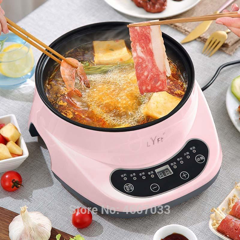 Inteligente elétrico quente potenciômetro multi-função cozinhar frigideira elétrica casa de frigideira antiaderitório dentário de mingau de arroz fazendo vapor