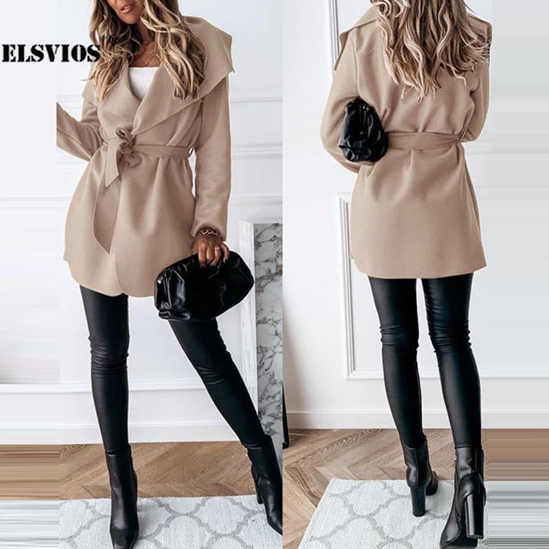 Женские куртки Элегантная осень зима ослабьте воротник с длинными рукавами Кардиган на шнуровке ветровка пальто вскользь сплошной цвет тонкий мода свободный jac